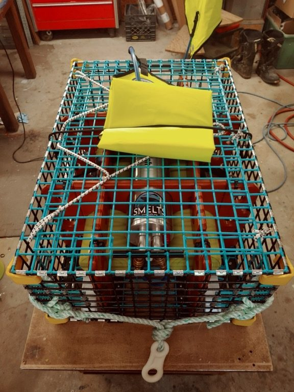 A ropeless fishing trap that uses a float triggered by remote control instead of a vertical buoy line for retrieval. Image by Richard Riels/SMELTS.org.