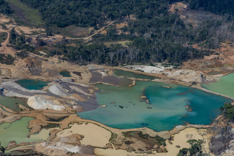 Deforested area for cassiterite and gold mining in Porto Velho, Jaci-Paraná district, Rondônia state. Mining-related deforestation has increased sharply under the Bolsonaro administration. Photo © Victor Moriyama / Amazônia em Chamas (Amazon in Flames Alliance)