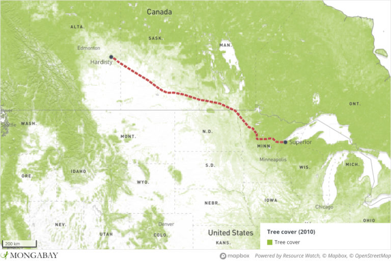 Map illustrating Enbridge's Line 3 pipeline route through Canada and the U.S.