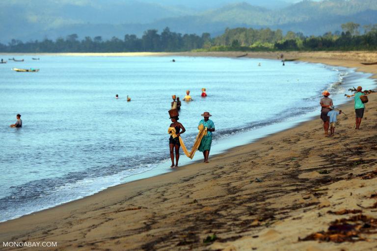 Villagers fishing on a beach in Maroantsetra . Photo credit: Rhett A. Butler / Mongabay