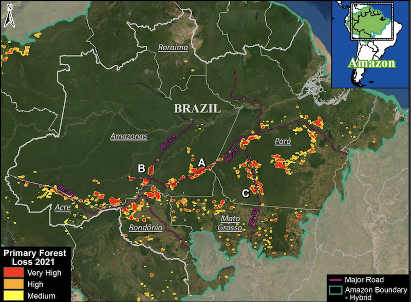 Deforestation hotspots in Brazilian Amazon (as of September 18). Data: University of Maryland (GLAD), Amazon Conservation Association/MAAP. Image courtesy of MAAP.