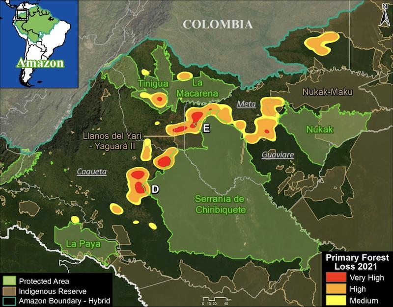 Deforestation hotspots in northwest Colombian Amazon (as of September 18). Data: University of Maryland (GLAD), Amazon Conservation Association/MAAP. Image courtesy of MAAP. Image courtesy of MAAP