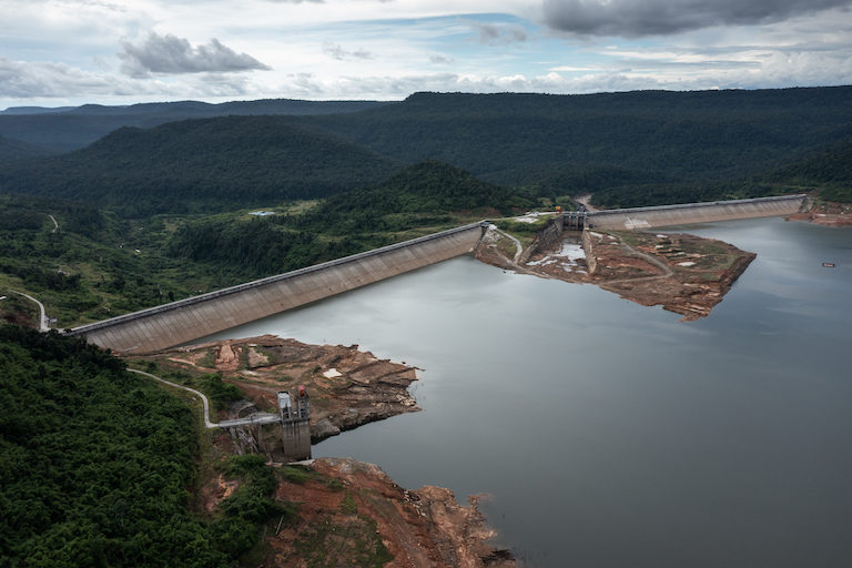 The Stung Tatai hydropower dam was completed in 2014. It's one of three operational hydropower dams in Koh Kong province, with another nine planned. Image by Andy Ball.