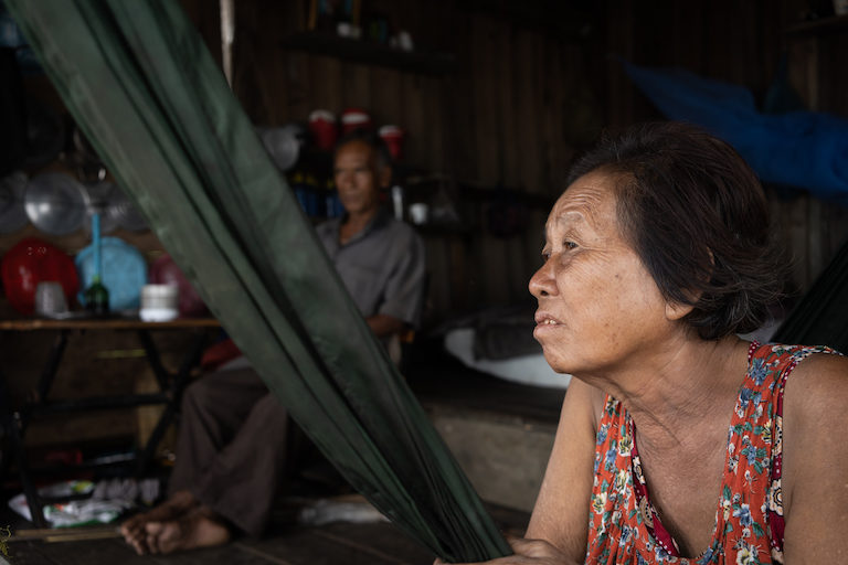 Mak Lieng, Dong Mith's mother, said their family has been paid to live on an island in Peam Krasop Wildlife Sanctuary for the last 20 years by a government official in Phnom Penh. Image by Andy Ball.