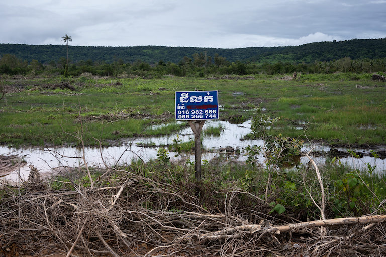 A plot of cleared land for sale in Peam Krasop Wildlife Sanctuary, in Koh Kong district, Koh Kong province. Image by Andy Ball.