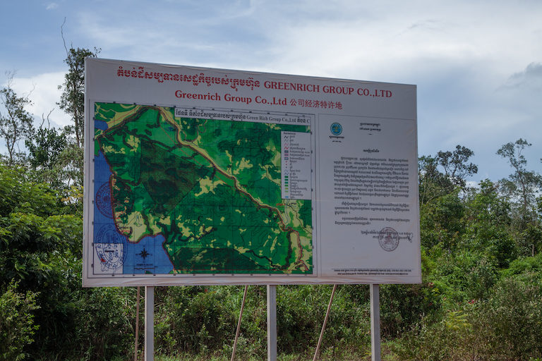 A map of Green Rich Group Co. Ltd.'s land concession inside Chroy Pros commune. Image courtesy of an anonymous source.