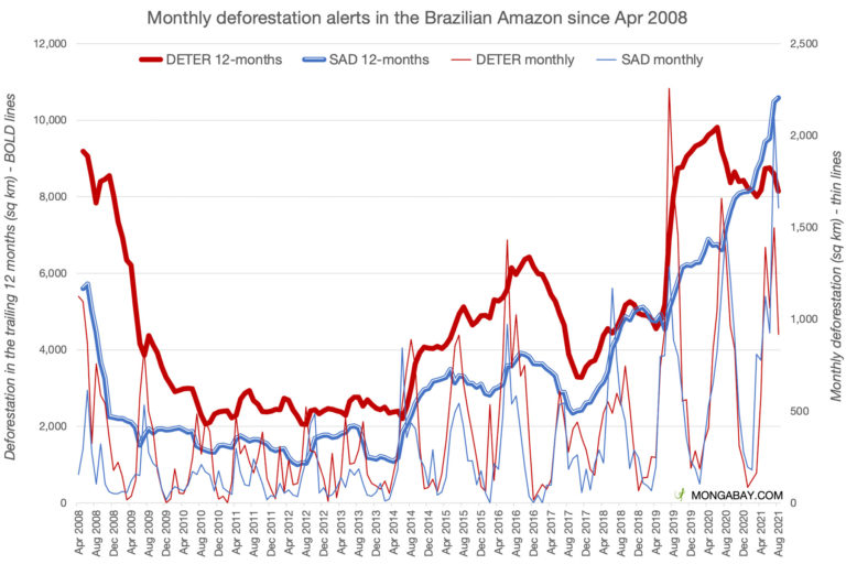 Monthly deforestation according to INPE's DETER system and Imazon's SAD system.