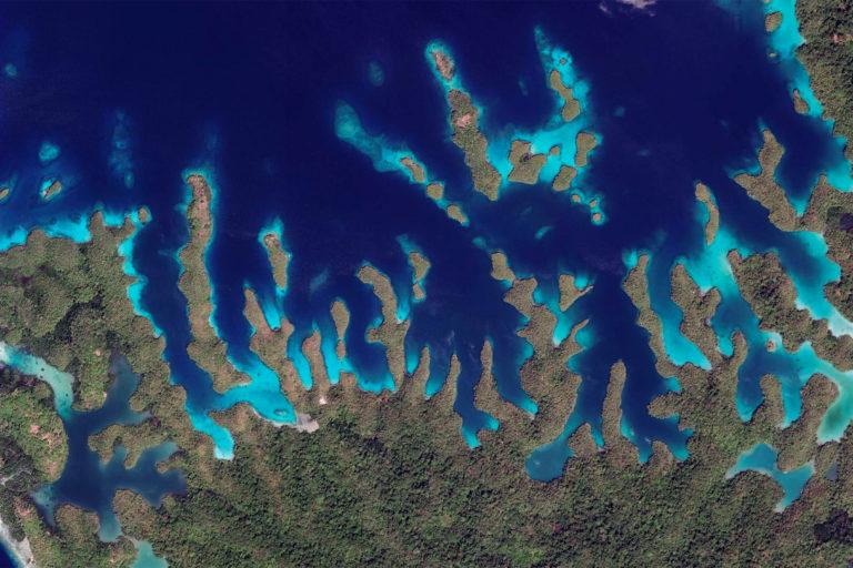 Daroyen in Raja Ampat, Indonesia. Photo credit: NASA Landsat