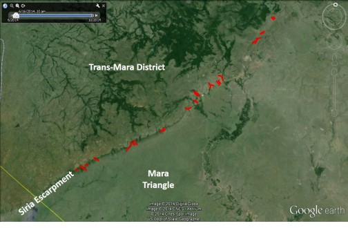Map of Transmara with corridors