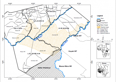 Map of study site, Trans-Mara District