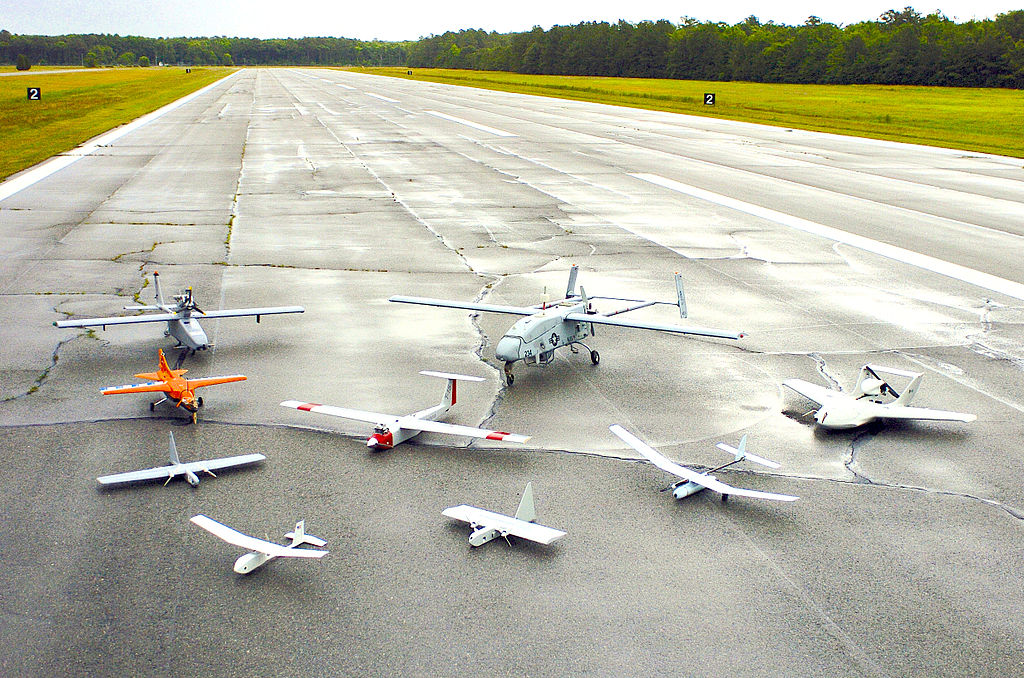 Group photo of drones at a Naval Unmanned Aerial Vehicle Air Demo. Credit: U.S. Navy photo by Photographer's Mate 2nd Class Daniel J. McLain