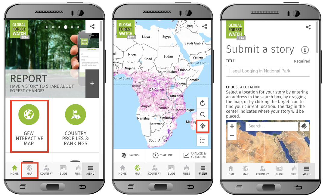 Global Forest Watch mobile in action.