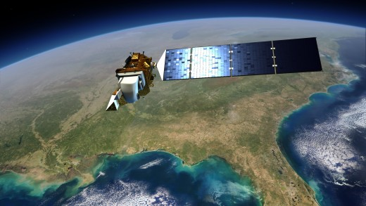 The Landsat 8 satellite, launched in 2013, orbits above earth. There are currently two Landsat satellites in orbit. Image courtesy of NASA