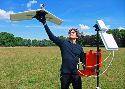 A UAS from Lehmann Aviation Ltd, designed for civil monitoring and surveillance. The UAS have an advanced navigation system and an autopilot which enable the aircraft to fly with the range of 5 km and a flight endurance from 30 to 45 minutes. Photo by Benjamin Lehmann