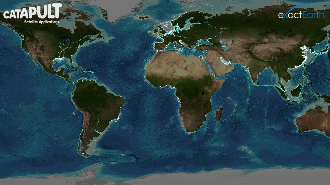 Eyes on the Seas' live global display of vessel activity overlaid with ocean seabed data. Photo credit: Pew.