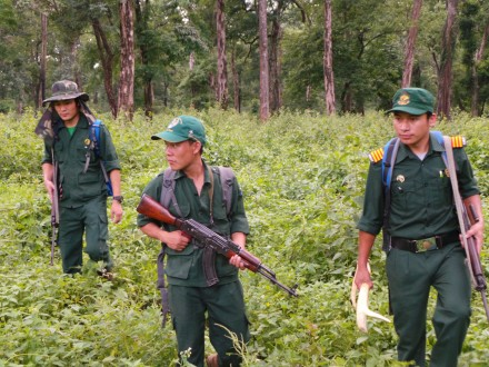 Jampel Lendhup (center) patrolling Bhutan's Manas National Park with fellow rangers. Photo credit: Rohit Singh/WWF TAI.