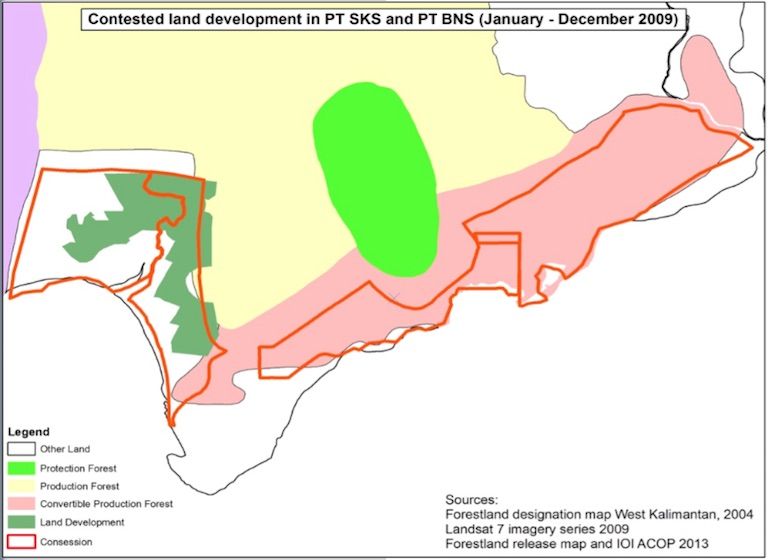 Image shows land development (dark green) between January and December 2009, inside and outside forestland release boundaries of IOI subsidiaries PT SKS and PT BNS (red lines) overlaid with the West Kalimantan forestland designation map of 2004. Image courtesy of Chain Reaction Research.