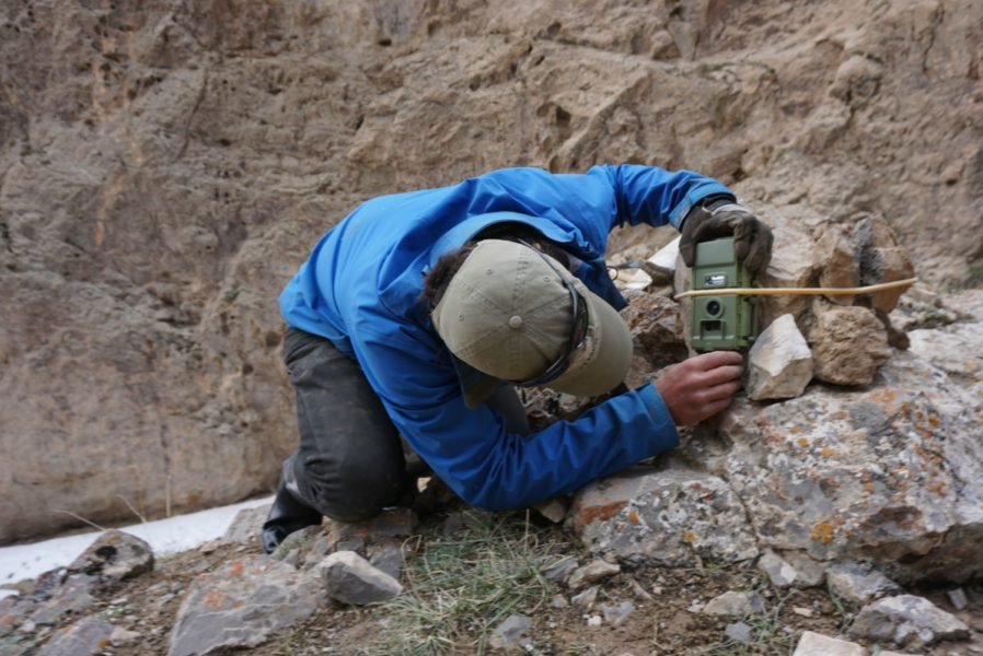 Shannon Kachel setting a camera trap for snow leopards, Kyrgyzstan. Photo credit: R. Bayrakcismith -Panthera-SAEF-NAS-UW.