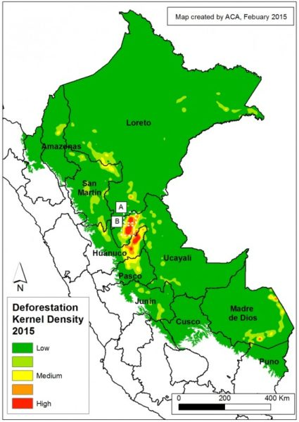 Kernell_2015a_Peru deforestation hotspots_MAAP. Note the _____ in Huanaco and Ucayali in the center and the road in Madre de Dios in the south. Image credit: MAAP