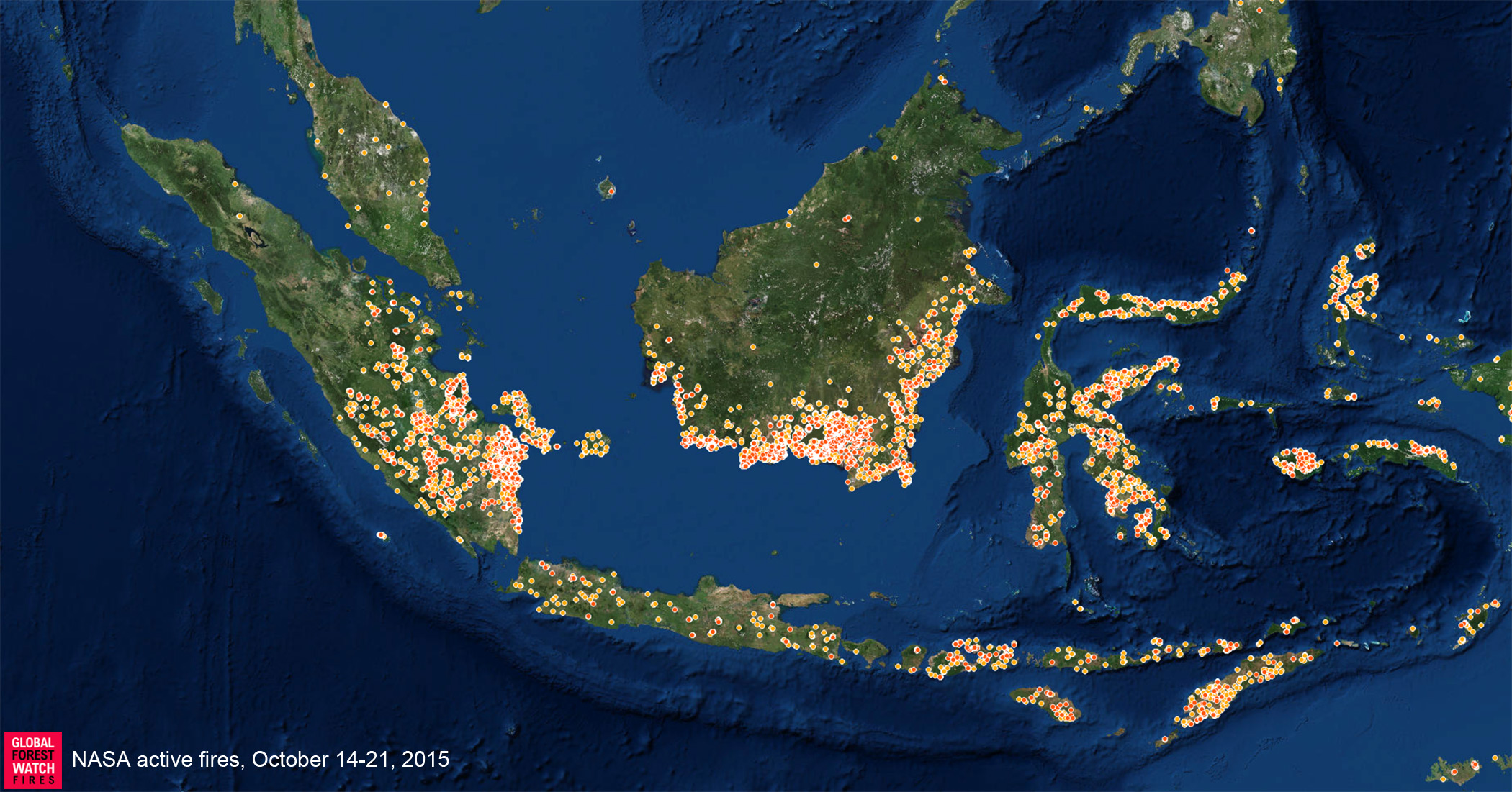 NASA MODIS hotspots for Oct 14-21, 2015 as presented on Global Forest Watch - Fires.