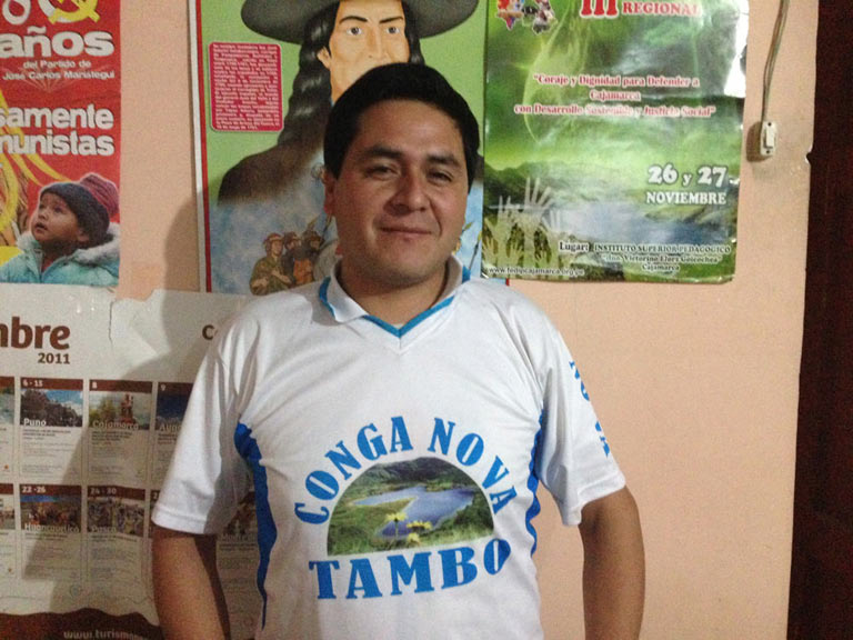 """Santos Saavedra, president of the Rondas de Cajamarca. """"We have leaders who are being pressured and persecuted. The [government] is criminalizing the protests."""" Photo credit: Verónica Goyzueta."""
