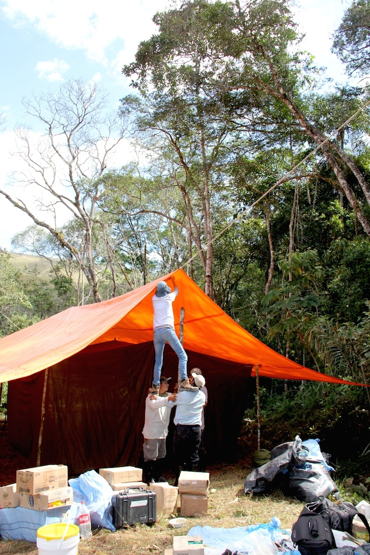 ID Madidi team members set up the dining and kitchen tent. Photo by Morgan Erickson-Davis.