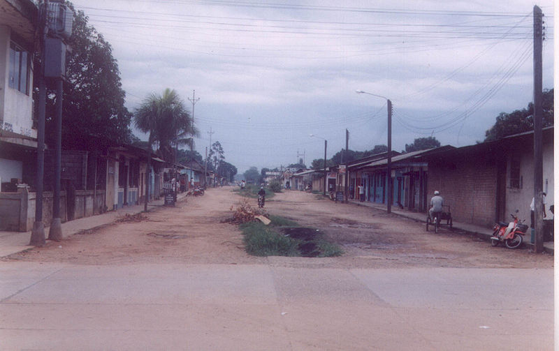The streets of Puerto Maldonado are not paved with gold, though many have come to this Madre de Dios town and the forests beyond it to seek their fortune. Photo credit: Haroldarmitage copyright holder of this work, release this work into the public domain