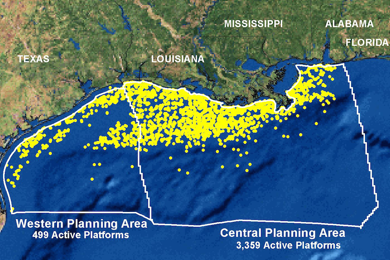 Map of the northern Gulf of Mexico shows nearly 4,000 active oil and gas platforms circa 2012. Map courtesy of National Oceanic and Atmospheric Administration.