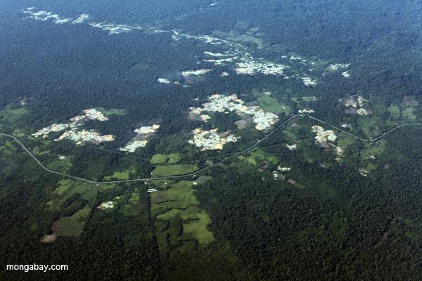 Deforestación cercana a la Carretera Interoceánica en Perú. Foto de Rhett Butler.