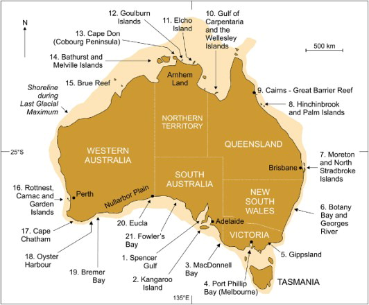 Map of Australia showing the 21 coastal locations from which Aboriginal stories about coastal inundation are described in the paper. (https://www.tandfonline.com/doi/full/10.1080/00049182.2015.1077539)