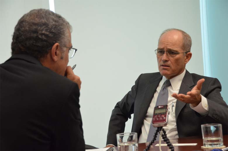 Roque Benavides, BuenaVentura CEO, in Lima being interviewed by the author. Photo by Emilia Catanoso.