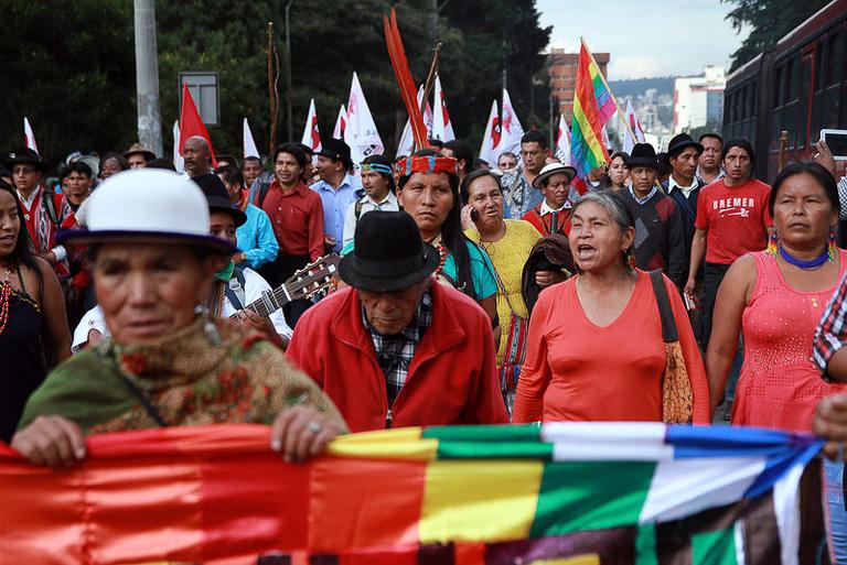 Indígenas ecuatorianos constamente realizan marcha para que sus derechos sean reconocidos. Fotografía: Mongabay.