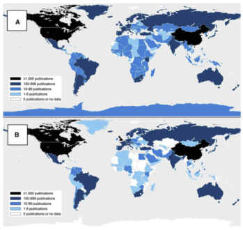(A) Geographical distribution of publications concerning climate change in a specific country (see also Ref. Pasgaard and Strange, 2013). (B) Production of climate change publications based on first author affiliations.  Image from Pasgaard et al (2015)