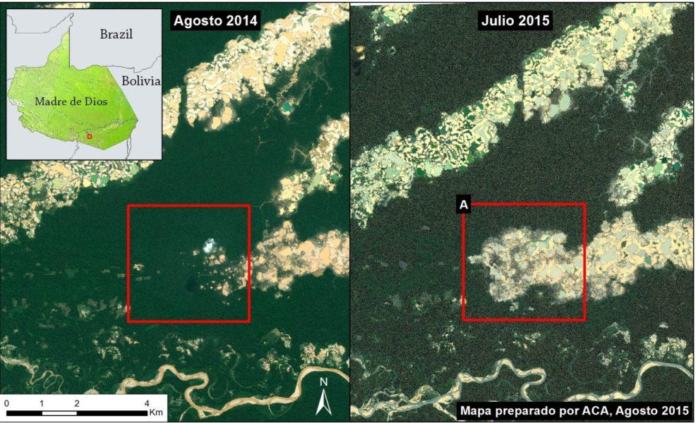 Mapas satelitales de MAAP  muestran la expansión de la deforestación por minería aurífera hasta febrero del 2015 en la zona conocida como La Pampa, ubicada en la región de Madre de Dios en el sur de la Amazonía peruana.