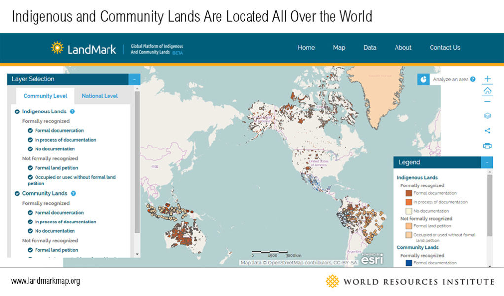 Examples of indigenous and community lands located all over the world with various degrees of documentation. Map courtesy of World Resources Institute.