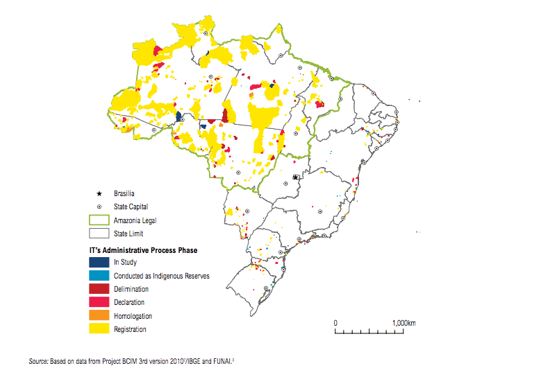 Map shows indigenous territories in Brazil, in 2015. Map courtesy of World Resources Institute.