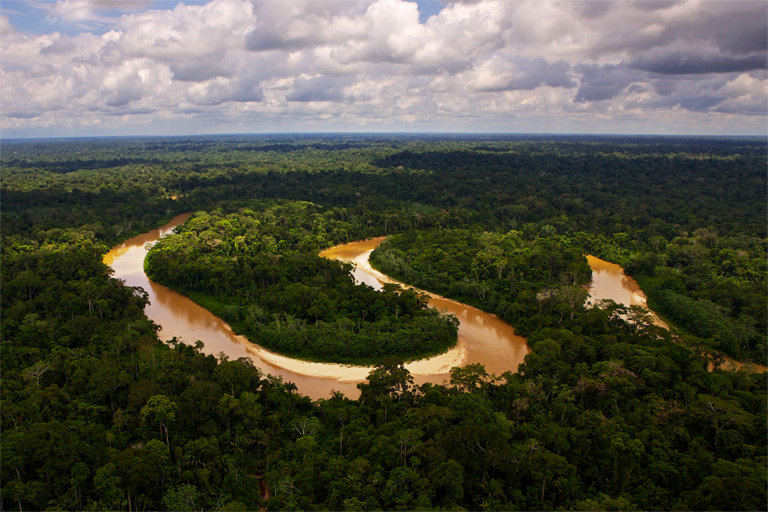 Twelve rivers, providing water for over 40,000 people, originate in the Sierra del Divisor. Photo credit: CEDIA. Photo caption: Rainforest Trust.