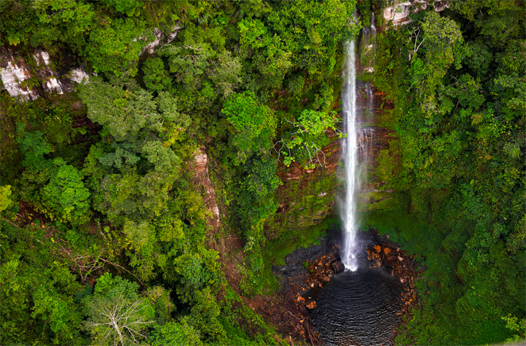 Waterfall in the Sierra del Divisor. Photo Credit: Thomas Muller