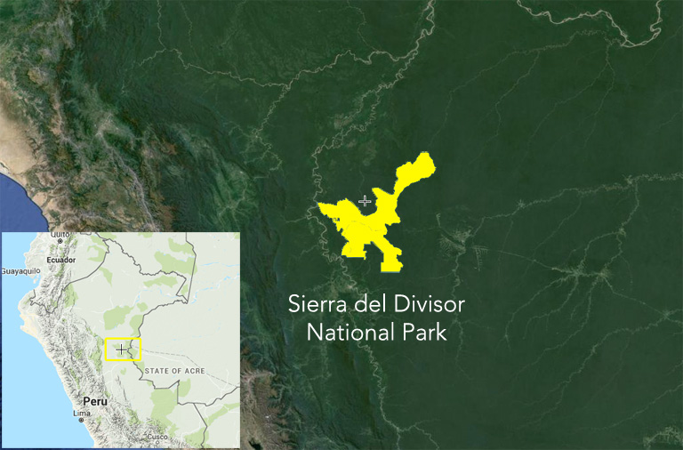 Boundaries of Sierra del Divisor National Park. Background satellite image courtesy of Google Earth, cutout map courtesy of Global Forest Watch.
