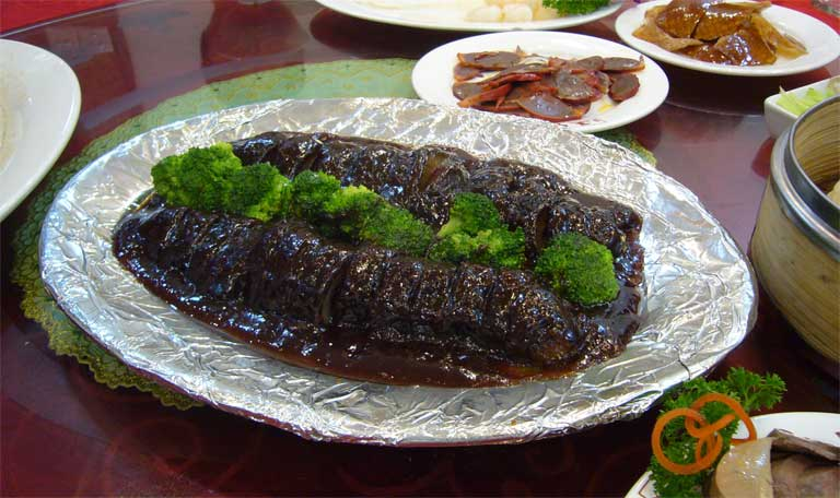 The finished product : trafficked sea cucumbers from all over the world reach dinner plates in Asia, the dish is particularly popular in China. Photo credit: Kent Wang/ Flickr CC