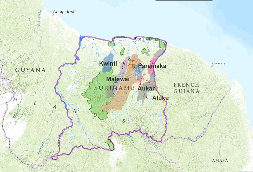 Mining extent in Maroon-occupied areas. Image courtesy of the ACT.