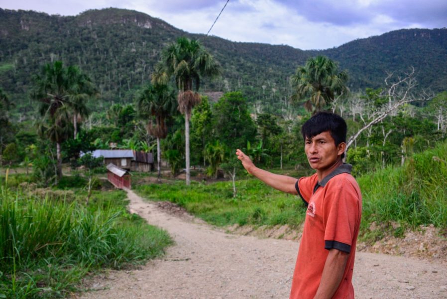 Carlos Tendetza outside of the Shuar Centro of Yanua (Etsa), along the Rio Quimi, just downstream from Tundayme and the Mirador Mine, December 8, 2015. Photo by Beth Wald.