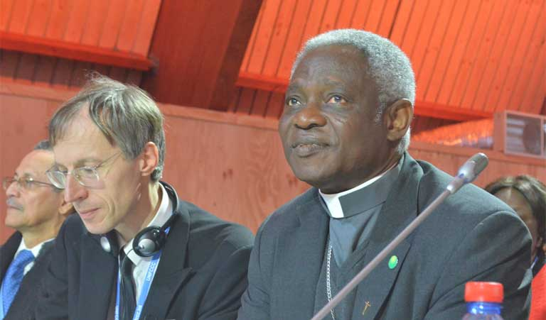 Cardinal Peter Turkson of Ghana, head of the Pontifical Council on Justice and Peace at a COP21 press conference in Paris.  Photo by Justin Catanoso