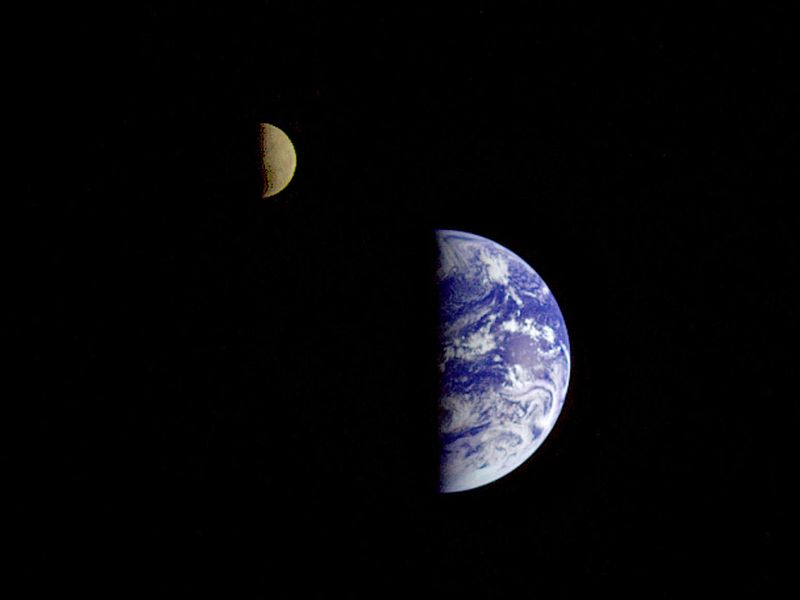 The Earth and Moon as seen in a single photograph from the Galileo spacecraft. Photo courtesy of NASA.