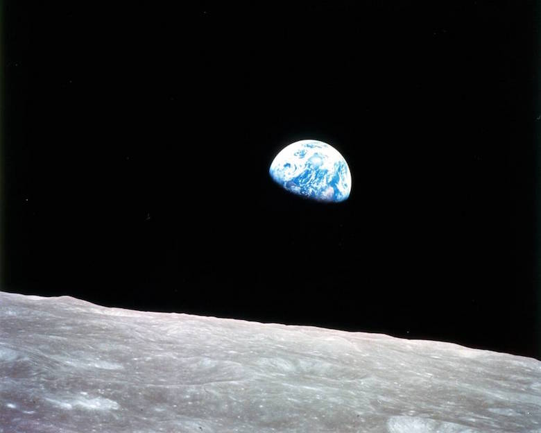 The iconic Earthrise photograph, snapped by an Apollo 8 astronaut on the first manned mission to the moon on Christmas Eve, 1968. Image courtesy of NASA.