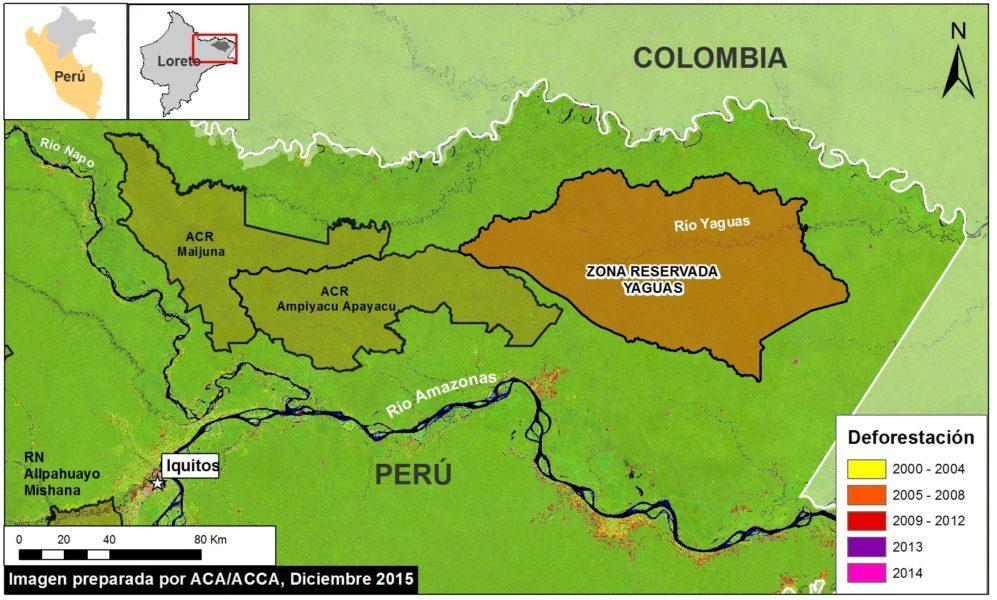Ubicación de la Zona Reservada Yaguas. Datos: USGS, SERNANP. Mapa cortesía de MAAP.