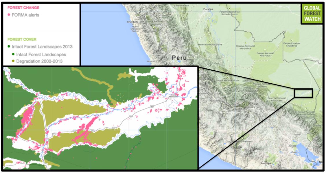 La minería es extensa en la zona norte del Río Madre de Dios en el sur de Perú. Imagen cortesía de Global Forest Watch.