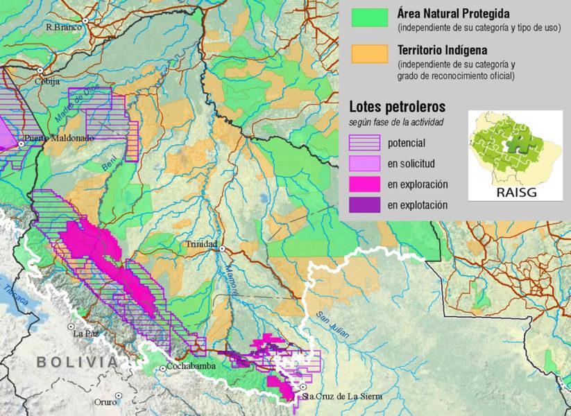 Un mapa que muestra las licencias de gas y de petróleo en Bolivia hasta el año 2010. Mapa cortesía de RAISG.