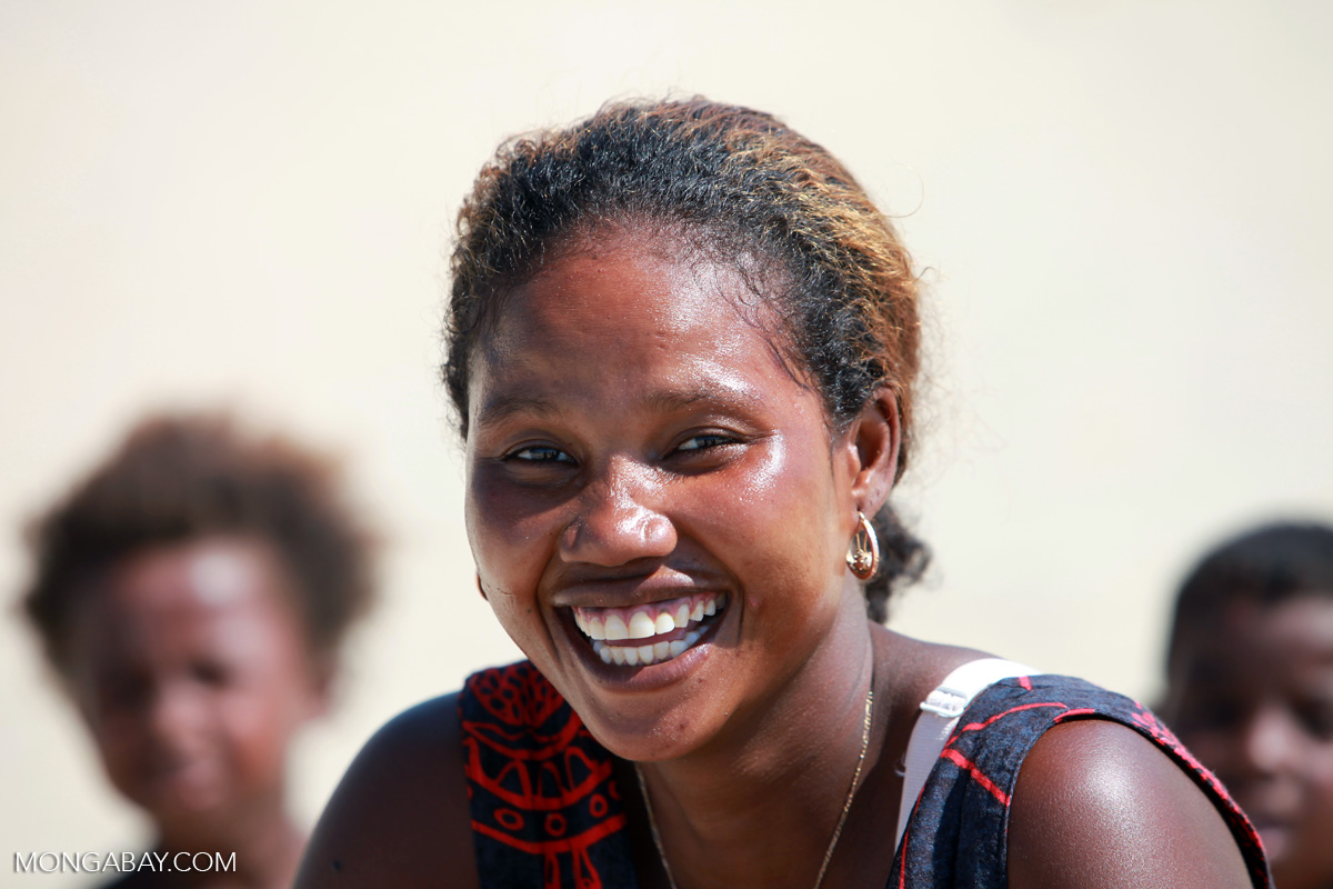 Vezo woman with facepaint in Arovana, Madagascar. Photo by Rhett A. Butler.