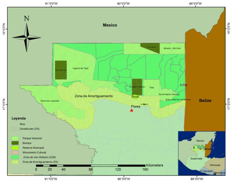 Este mapa muestra la amplitud territorial de su proyecto, desde la frontera con México a Belice. Es el área que aparece como Zona de Uso Múltiple (ZUM) dentro de la Biósfera Maya. Mapa cortesía de GuateCarbón.